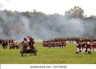 MOSCOW REGION - SEPTEMBER 04: Unknown soldiers at Borodino historical reenactment battle between Russian and French armies on September 04, 2011 in Borodino, Moscow Region, Russia.