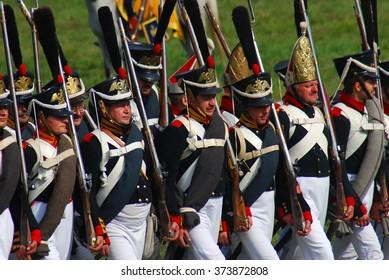 MOSCOW REGION - SEPTEMBER 07, 2014: Reenactors dressed as Napoleonic war soldiers at Borodino battle historical reenactment.