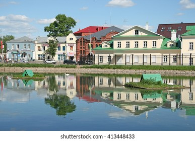 MOSCOW REGION, SERGIYEV POSAD, RUSSIA - MAY 31, 2009: Old Monastery Hotel on the banks of the White pond