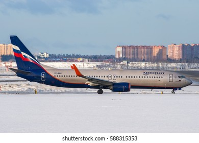 Moscow region, Sheremetyevo, Russia - February 25, 2017: Boeing 737-800 Aeroflot VP-BRH taxiing for take off at Sheremetyevo international airport.