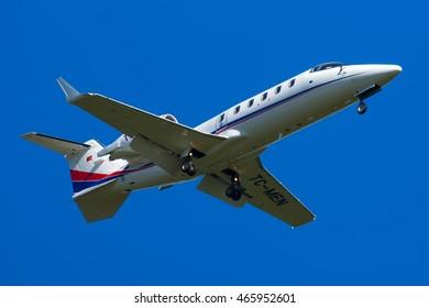 Moscow region, Vnukovo, Russia - July 10, 2016: Turkish private JET Learjet 60 TC-MEN landing at Vnukovo international airport