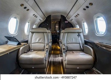 Moscow region, Vnukovo, Russia - September 10, 2016: The interior of private jet Cessna Citation LatitudeN613CL  shown during Jetexpo-2016 at Vnukovo international airport.