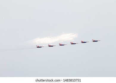 Moscow region, Zhukovskii, Russia - 22 july 2017: Russian fighter Mikoyan-Gurevich MiG-29 of an aerobatic demonstration team of the Russian Air Force Strizhi in flight at Kubinka ait force base..
