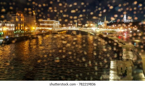 Moscow river by night in Russian Federation capital