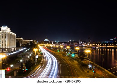 Moscow river city lights