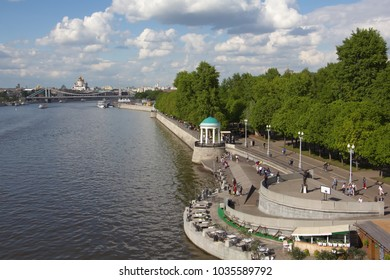 Moscow river and Pushkinskaya embankment. In the background, the Crimean Bridge and the Cathedral of Christ the Savior