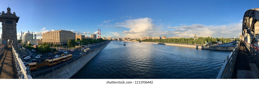 Moscow river in summer evening