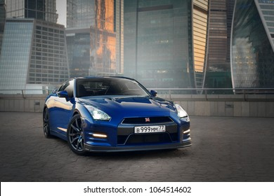 Moscow, RU - AUG 8, 2014: Nissan GTR R35 Nismo and skyscrapers