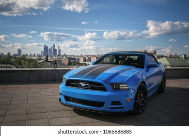 Moscow, RU - JUN 31, 2017: Ford Mustang GT in the city centre