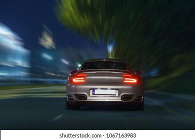 Moscow, RU - JUN 31, 2017: Porsche 911 Turbo go fast