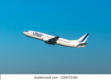 MOSCOW, RUSSIA - 01 august 2018: UTair plane with an new livery takes off from Vnukovo international airport in Moscow