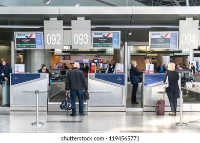 MOSCOW, RUSSIA - 01 october 2018: The Azur Air Company employees work at the check-in desks at the Vnukovo International Airport