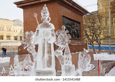 Moscow, Russia, 01/27/2013, Exhibition of ice sculptures at St. Basil's Cathedral. Sculpture Of Czar Fyodor Alexeevich. In 1913, near St. Basil's Cathedral was held a small exhibition of ice sculpture