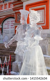 Moscow, Russia, 01/27/2013, Exhibition of ice sculptures at St. Basil's Cathedral. Czar Nicholas II and his wife. In 1913, near St. Basil's Cathedral was held a small exhibition of ice sculptures.