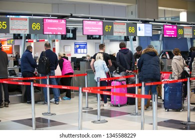 Moscow / Russia - 01.31.2018. Domodedovo International Airport. The handling agent registers the passengers of Emirates Airlines for the flight. Passengers check-in at the airport.