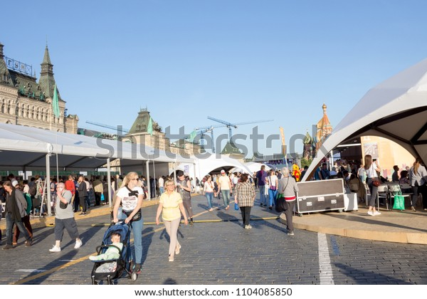 Moscow, Russia, 02 June 2018: Open Book Fair on the Red Square in Moscow - big festival of books