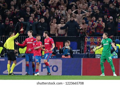 MOSCOW, RUSSIA - 02 OCTEMBER, 2018. Luzhniki Stadium.  Igor Akinfeev (right) in the match of UEFA Champions League between CSKA (Moscow.Russia) and Real (Madrid.Spain)