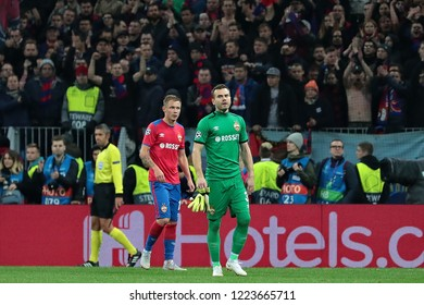 MOSCOW, RUSSIA - 02 OCTEMBER, 2018. Luzhniki Stadium.  Dmitri Efremov and Igor Akinfeev (left to right) in the match of UEFA Champions League between CSKA (Moscow.Russia) and Real (Madrid.Spain)