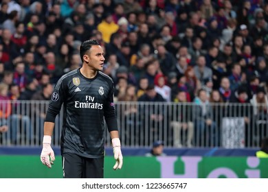 MOSCOW, RUSSIA - 02 OCTEMBER, 2018. Luzhniki Stadium.  Keylor Navas in the match of UEFA Champions League between CSKA (Moscow.Russia) and Real (Madrid.Spain)