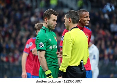 MOSCOW, RUSSIA - 02 OCTEMBER, 2018. Luzhniki Stadium.  Igor Akinfeev and Ovidiu Hategan (left to right) in the match of UEFA Champions League between CSKA (Moscow.Russia) and Real (Madrid.Spain)