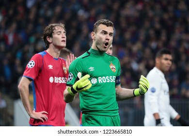 MOSCOW, RUSSIA - 02 OCTEMBER, 2018. Luzhniki Stadium.  Igor Akinfeev in the match of UEFA Champions League between CSKA (Moscow.Russia) and Real (Madrid.Spain)