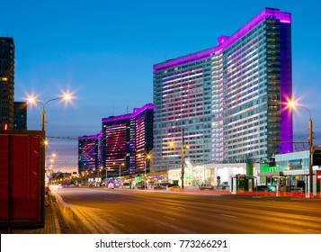 Moscow, Russia, 02/07/2016, New Arbat Street in Moscow. New Arbat is one of the busiest streets of the capital. On one side of the New Arbat is four towers like an open book.