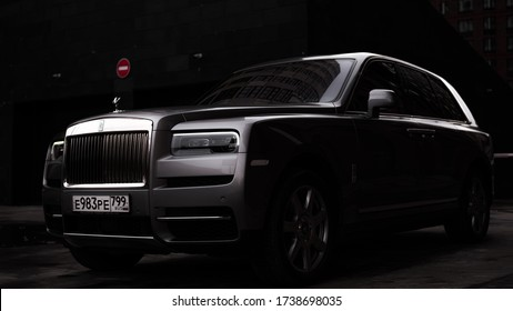 Moscow, Russia - 02.19.2020: Luxury Rolls Royce SUV  in the Moscow city landscape