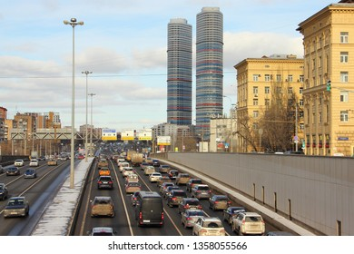 Moscow / Russia – 03 02 2019: Prospect Mira traffic, top view from the center at VDNKH (VVC, ENEA) on a winter day