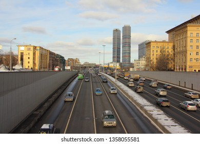 Moscow / Russia – 03 02 2019: Prospect Mira, top view from the center at VDNH (VVC, ENEA) on a winter day