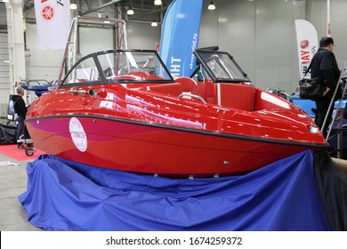 Moscow / Russia – 03 05 2020: Red Slider bowrider motor boat on 13th International Moscow Boat Show 2020 at the Crocus Expo exhibition center