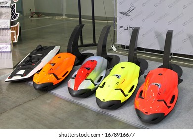 Moscow / Russia – 03 05 2020: Underwater towing Jet ride diving devices SeaBob on Exhibition stand Luxury Technology on 13th International Moscow Boat Show 2020 in Crocus Expo