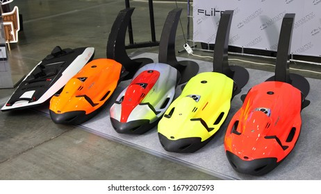 Moscow / Russia – 03 05 2020: SeaBob Underwater towing Jet ride diving devices on Exhibition stand Luxury Technology on 13th International Moscow Boat Show 2020 in Crocus Expo