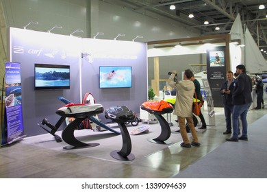 Moscow / Russia – 03 07 2019: Exhibition stand SeaBob with people on Russian Moscow Boat show MBS 2019 in Crocus Expo