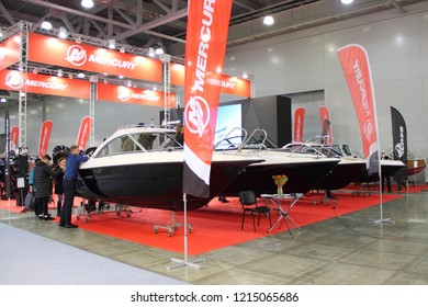 Moscow / Russia – 03 08 2018: Russian motor boats Phoenix 600 HT on stand Mercury at the Yacht exhibition Moscow Boat show MBS 2018 in Crocus Expo