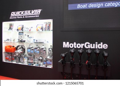 Moscow / Russia – 03 08 2018: Mercury electrical trolling outboard engines MotorGuide at Quicksilver stand on Russian motor boats and Yacht exhibition Moscow Boat show MBS 2018 in Crocus Expo