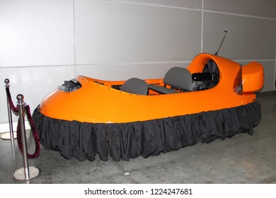Moscow / Russia – 03 08 2018: Individual small orange tandem seat hovercraft on Russian motor boat and Yacht exhibition Moscow Boat show MBS 2018 in Crocus Expo