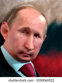 Moscow / Russia - 03 18 2018: Caricature of newly elected Russian president Vladimir Putin on occasion of the Russian presidential election 2018