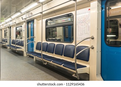 """MOSCOW, RUSSIA - 03 july 2018: The interior of the train car of the subway 81-760 """"Oka"""""""