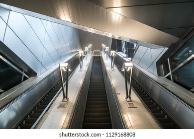 MOSCOW, RUSSIA - 03 july 2018: Construction of the metro station Michurinsky Prospekt (line 8a). Escalators at the metro station