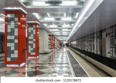 MOSCOW, RUSSIA - 03 july 2018: Construction of the metro station Rasskazovka (line 8a) in Moscow. Passenger platform and decoration of the station.