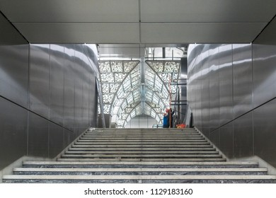 MOSCOW, RUSSIA - 03 july 2018: Construction of Novoperedelkino metro station (line 8a) in Moscow. Decorative lighting in the lobby of the station and near the cash desks