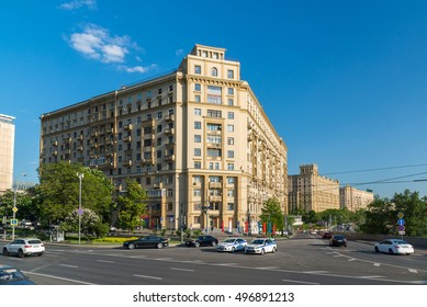 Moscow, Russia -03 June 2016. General view Smolenskaya Embankment
