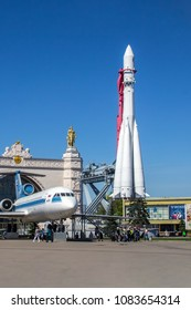 Moscow, Russia, 03/05/2018. Launch vehicle Vostok, a Yak-42 aircraft on the site in front of the Space pavilion at VDNKh