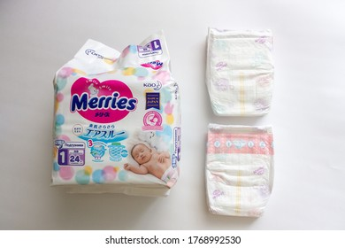 Moscow, Russia - 03.15.2020: packaging of Merries diapers