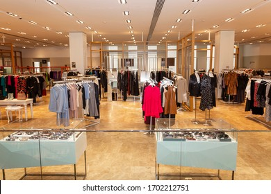 Moscow, Russia, 03/24/20220: Department of fashionable stylish women's clothing in a beautiful shopping center.
