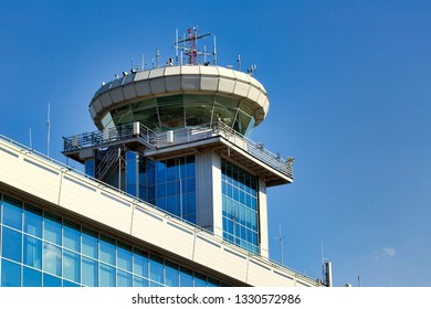 Moscow / Russia - 04.10.2018. Domodedovo International Airport. Air Traffic Control Tower (ATC Tower) close-up.