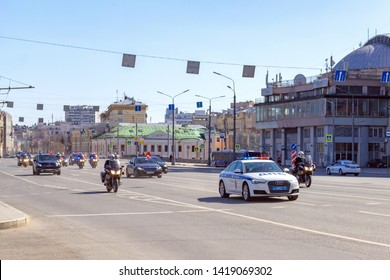 Moscow, Russia, 04.16.2019. Motorcade of police cars and motorcyclists accompanied by a foreign delegation on the streets of Moscow