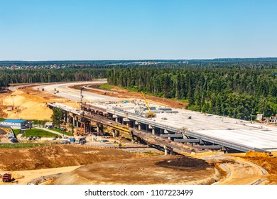 Moscow / Russia - 05 21 2018: Bridge and road construction