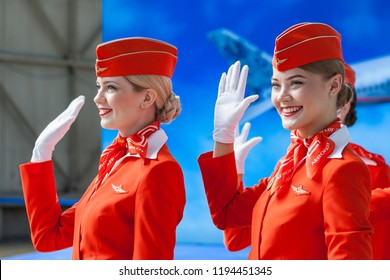 Moscow, Russia - 05/04/2018: An official event in the Moscow Sheremetyevo Airport in honor of the 95th anniversary of the Aeroflot. Presentation of the livery of Aeroflot under the name `Gzhel`.