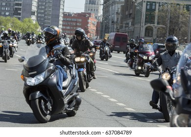 "Moscow, Russia 05/06/2017: the first motofestival ""Moscow - a city for motorcyclists"". It was held in support of the development of motorcycle culture and safety on the roads"
